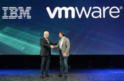 IBM and VMware Announce Strategic Partnership to Accelerate Enterprise Hybrid Cloud Adoption. IBM Cloud senior vice president Robert LeBlanc, left and VMware president and chief operating officer Carl Eschenbach announced a strategic partnership to help companies easily extend their applications running on VMware's software to the IBM Cloud at IBM's InterConnect Conference on Monday, February 22, 2016 in Las Vegas, Nev. VMware's technology is used by virtually every Fortune 100 company. (Alan M Rosenberg/Feature Photo Service for IBM)