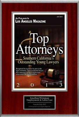 Attorney Jonathan Weinman Selected for List of Top Rated Lawyers in California.  (PRNewsFoto/American Registry)