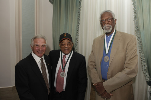 Nick Buoniconti, Willie Mays and Bill Russell attend the 25th Annual Great Sports Legends Dinner to benefit The  ...