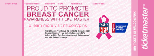 Ticketmaster Turns Tickets Pink for National Breast Cancer Awareness Month.  (PRNewsFoto/Live Nation Entertainment)