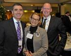 John Meara, the new Kletjian Professor of Global Surgery at Harvard Medical School (left), with Carmella Kletjian and Paul Farmer. Image: Steve Lipofsky