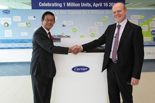 Leaders from Carrier Transicold today presented its 1 millionth container refrigeration unit to representatives from CMA CGM, one of the world's largest container shipping companies, at the Carrier manufacturing plant in Singapore. (PRNewsFoto/Carrier Transicold )