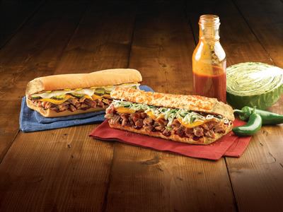 Quiznos brings back fan-favorite BBQ subs featuring all-natural, slow roasted pulled pork. Both the Southern and Spicy BBQ Pulled Pork Subs are available for a limited time. (PRNewsFoto/Quiznos)