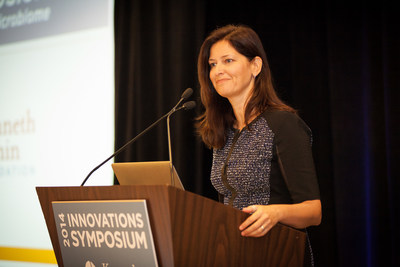 Jennifer Rainin, CEO of the Kenneth Rainin Foundation, welcomes scientists to the Foundation's Innovations Symposium, a forum that brings together an array of experts, researchers and thought-provoking keynote speakers to share best practices and novel approaches to looking at Inflammatory Bowel Disease. (PRNewsFoto/The Kenneth Rainin Foundation)