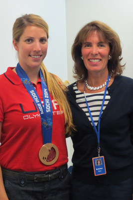 USA Luge Sochi 2014 Bronze Medalist Erin Hamlin and Pilot Chemical Company President and Chief Operating Officer Pam Butcher at the company's headquarters in Cincinnati, Ohio. (PRNewsFoto/Pilot Chemical Company)