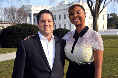 """Creators and executive producers of """"Underground"""" in front of the White House prior to the series' screening as part of the White House Office of Public Engagement's Black History Month event, """"These Hallowed Grounds."""" Pictured left to right: Joe Pokaski, Misha Green"""