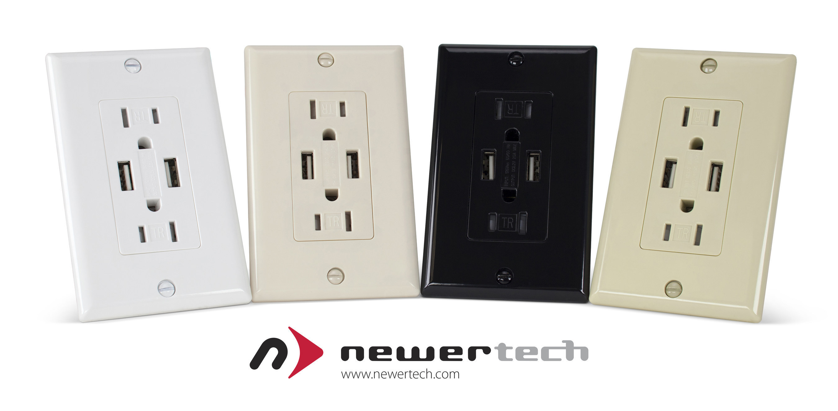 NewerTech Power2U electrical outlet with two USB ports for easy charging of multiple mobile devices. Available from Other World Computing at http://eshop.macsales.com/shop/accessories/power_adapters/USB/in_wall_outlets.