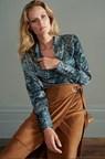 Snake Print Satin Shirt &  Suedette Wrap skirt  from AW16 Collection. (PRNewsFoto/SOSANDAR)