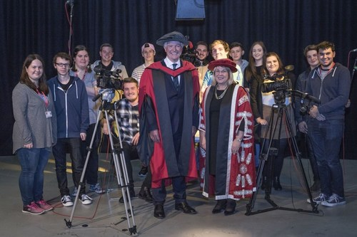 BBC Director-General Tony Hall with Vice-Chancellor Julie Lydon and students from the University of South Wales (PRNewsFoto/University of South Wales)