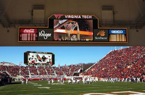 Top: A photo rendering of the new primary scoreboard in Virginia Tech's Cassell Coliseum.  Bottom: A photo rendering of Panasonic's video scoreboard system which will be installed at Virginia Tech's Lane Stadium.  (PRNewsFoto/Panasonic Eco ...