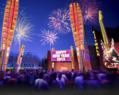 Universal CityWalk Rings in 2013 with Annual New Year's Eve Celebration Featuring Three Spectacular Firework Displays, Live Concerts, DJs and Midnight Shower of Streaming Confetti.  (PRNewsFoto/Universal CityWalk)