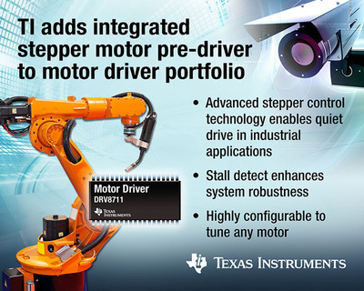 TI expands motor driver portfolio with its first integrated stepper motor pre-driver.  (PRNewsFoto/Texas Instruments)
