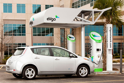 Nissan partners with eVgo to establish the first quick-charging network in the greater Washington D.C. area, providing eVgo with 40 electric vehicle fast chargers. Nissan also announces strategy to triple the number of fast chargers across the country. Photo courtesy of eVgo.  (PRNewsFoto/Nissan North America)