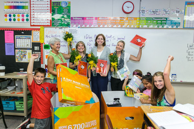 OfficeMax associates surprised teachers in West Elementary School in West, Texas with $12,000 worth of classroom supplies on Tuesday, Oct. 1. Those who were honored included fifth grade teachers Molly Hopkins, Christine Brinegar, Natalie Compton and Staci Mattlage. The event was part of OfficeMax's 'A Day Made Better' program in which OfficeMax associates surprised 1,000 teachers nationwide with a total of $1 million dollars worth of classroom supplies.  (PRNewsFoto/OfficeMax Incorporated)