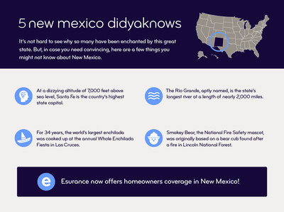 Esurance now offers home homeowners coverage in New Mexico.