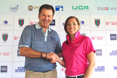 Sir Nick Faldo (left), founder of the Faldo Series, and Ryley Hendry (right), CEO of the International Junior Golf Academy (IJGA), following the appointment of IJGA as the Official Golf Academy Partner of the Faldo Series.