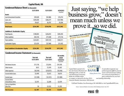 Annual Statement.  (PRNewsFoto/Capital Bank)