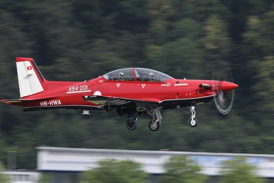 The Pilatus PC-21 aircraft taking its first initial production test flight at their factory in Stans, Switzerland.