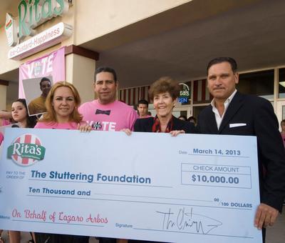 Rita's Donates $10,000 to Stuttering Foundation for American Idol Hopeful Lazaro Arbos.  (PRNewsFoto/Rita's Italian Ice)