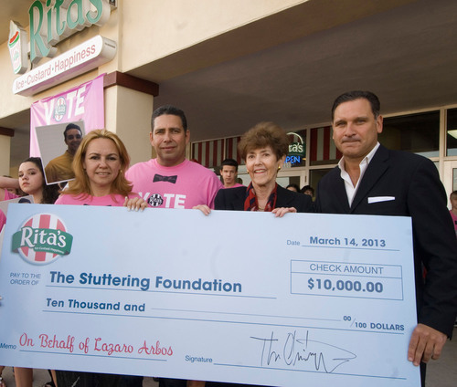Rita's Donates $10,000 to Stuttering Foundation for American Idol Hopeful Lazaro Arbos.  ...