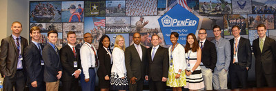 PenFed summer interns pose with Executive Vice President of Global Fixed Assets Rocky Mitchell (center, left) and President and CEO James Schenck (center, right).
