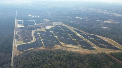 Aerial view of the 30 megawatt solar project at Fort Benning. Photo courtesy of the US Army