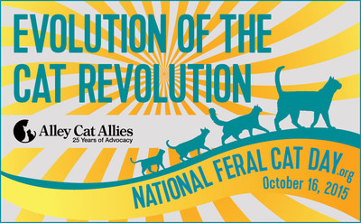 National Feral Cat Day and Alley Cat Allies logo. Celebrate National Feral Cat Day on Oct. 16, 2015 and visit http://www.nationalferalcatday.org for more information.