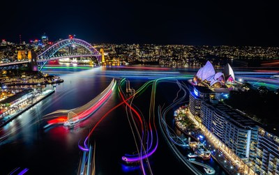 Vivid Sydney 2016, Sydney Harbour. CREDIT: Destination NSW, KM 5698