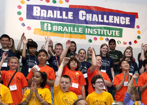 Nation's top blind students cheer and wave as they prepare to compete in the 10th Annual National Braille Challenge competition.  (PRNewsFoto/Braille Institute of America)