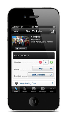 Ticketmaster iPhone app displaying ticket selection screen.  (PRNewsFoto/Ticketmaster)