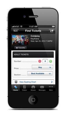 Ticketmaster iPhone app displaying ticket selection screen.  (PRNewsFoto/Ticketmaster)