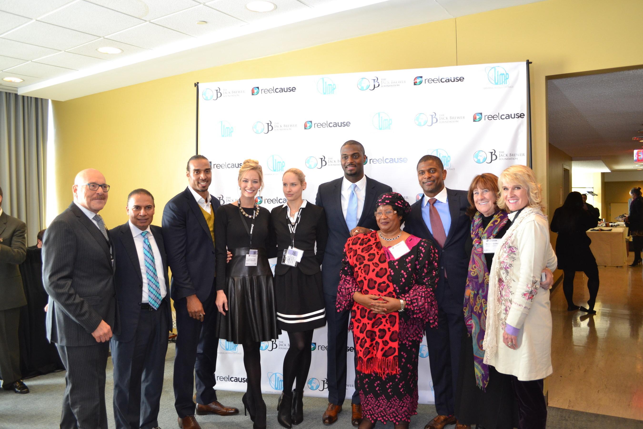 Left to right:  Michael Jacobson, Bobby Kumar Kalotee, Ryan Grant, Courtney Hejl, Sara Hirsch, Plaxico Burress, H.E. Dr. Joyce Banda, Ambassador Jack Brewer, Noreen Griffin, Lynda Blanchard