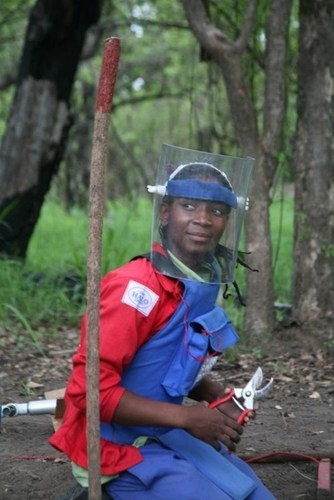 Amelia is a HALO deminer. She was hired by HALO in 2013 and has helped the effort to destroy the last known landmine in Mozambique. The charity's demobilisation programme will now help her find new work. (PRNewsFoto/The HALO Trust) (PRNewsFoto/The HALO Trust)