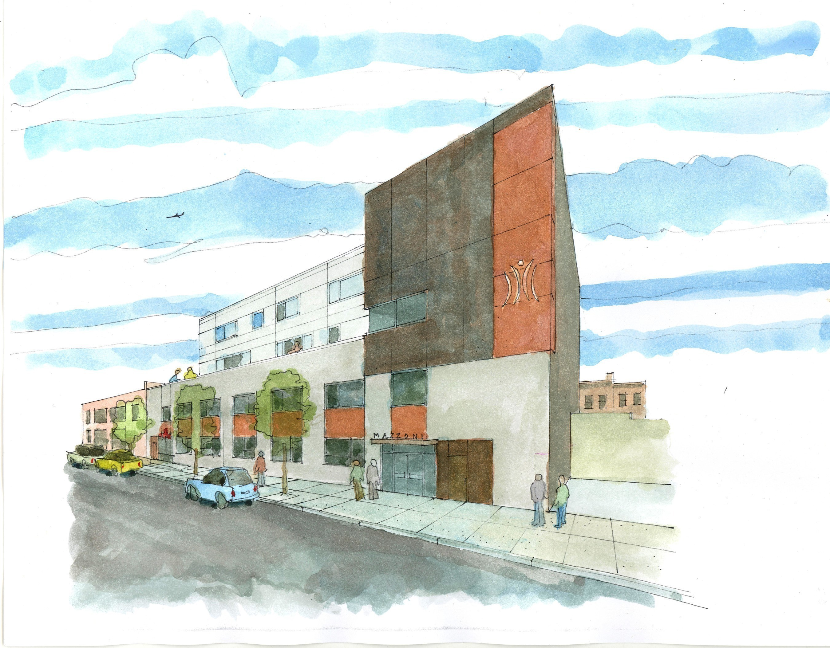 Artist rendering of Mazzoni Center's future home at Broad and Bainbridge Streets in Philadelphia.  Construction on the project is underway, with an anticipated move-in date of June 2017.