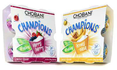 Today, Chobani, America's #1 Greek Yogurt, announces the introduction of Chobani Champions, the first-ever Greek yogurt made for kids.  Available at retailers nationwide in early January, Chobani Champions is packed with wholesome goodness and is available in two delicious flavors, Honey-Nana and VeryBerry, kids are sure to enjoy.  (PRNewsFoto/Chobani)