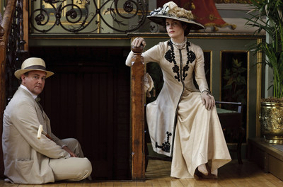 Downton Abbey costumes come to Biltmore in February 2015. Photo is from Downton Abbey (PBS) Season 1, 2010. Shown from left: Hugh Bonneville, Elizabeth McGovern Credit: PBS (PRNewsFoto/The Biltmore Company)