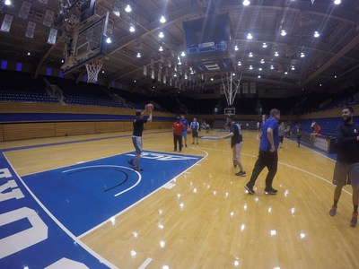 Wounded Warrior Project takes injured veterans to play basketball at Cameron Indoor Stadium at Duke University.