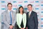In 2014, Cox President Pat Esser announced a renewed two-year, $15 million commitment to Connect2Compete, the company's historic $9.95 broadband program for low income families. (L to R) EveryoneOn CEO Zach Leverenz, FCC Commissioner Jessica Rosenworcel, Cox President Pat Esser