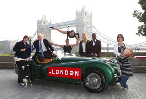 The Mayor of London Boris Johnson in the driving seat of a Jaguar XK120 from London business Hexagon Classics ...