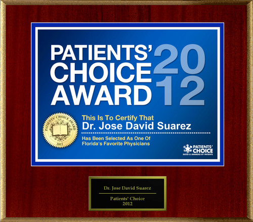 Dr. Suarez Of South Miami, FL Has Been Named A Patients' Choice Award Winner For 2012.  ...