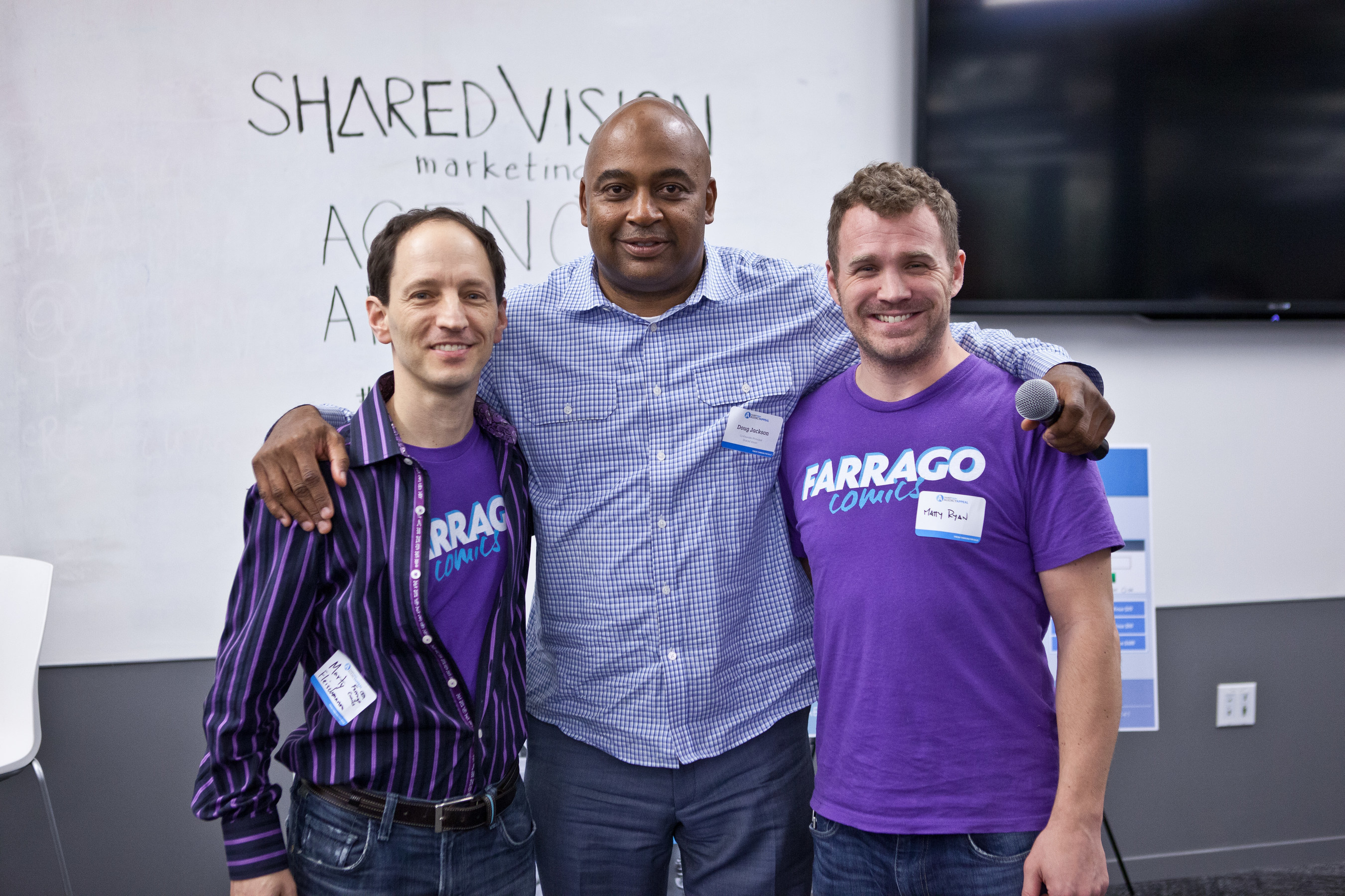 Startup Farrago Comics Wins Shared Vision Marketing's Agency Appeal Pitch Event.  Farrago pictured with Shared Vision Co-founder Douglas Jackson.