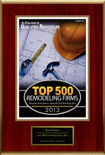 """Roof Masters Selected For """"Top 500 Remodelers"""". (PRNewsFoto/Roof Masters) (PRNewsFoto/ROOF MASTERS)"""