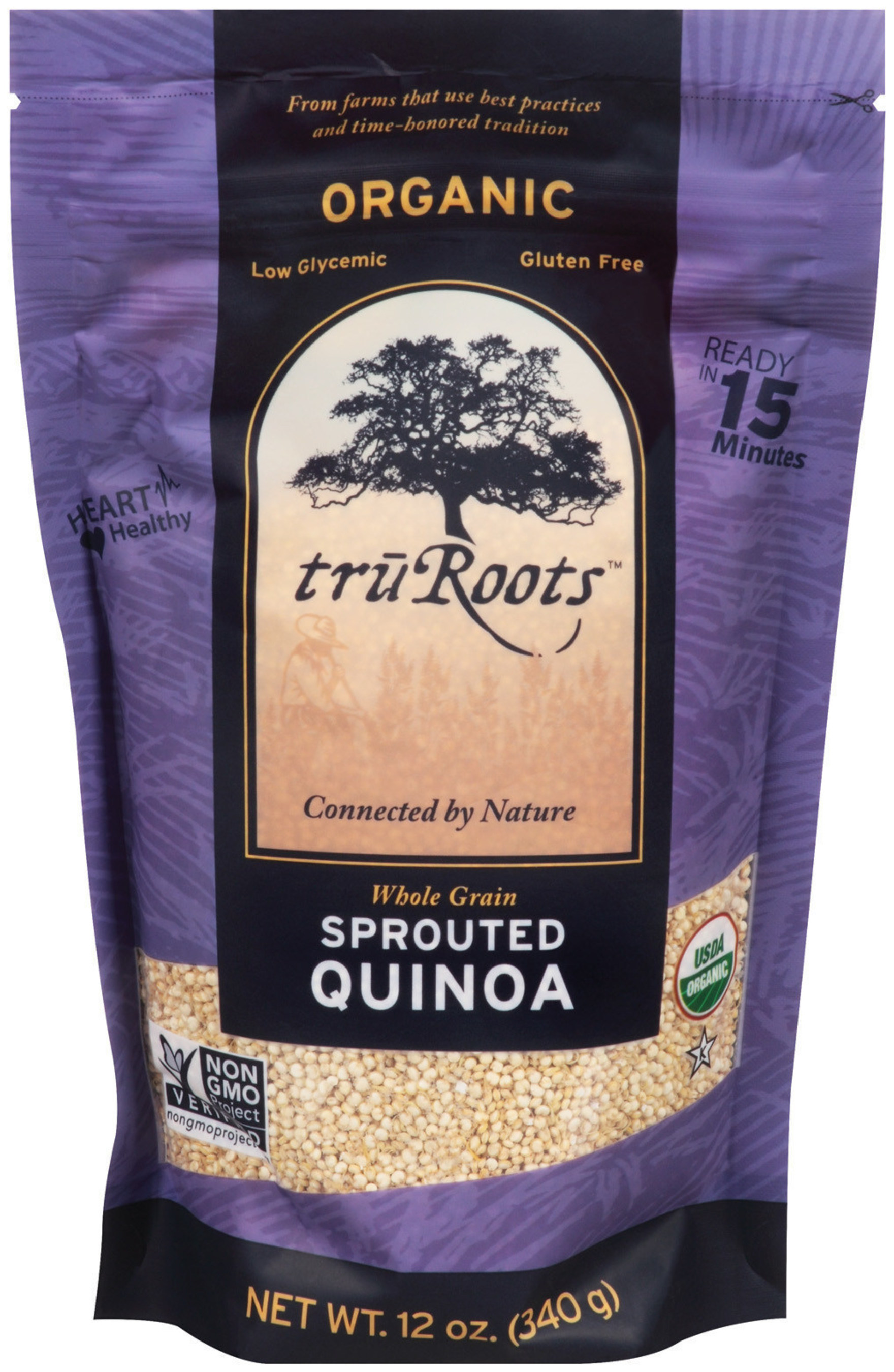 truRoots(R) Ancient Grains feature the highest quality organic ingredients that are harvested by traditional farmers using certified organic standards and time-honored practices. One of these ancient practices includes sprouting, an age-old tradition dating back to over 5,000 years ago. Sprouting helps to break down the protective coating of the grain, which helps unlock its natural goodness.