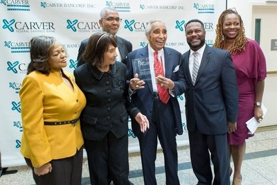 From left to right: Congresswoman Inez Dickens; Alma Rangel; Kenneth Knuckles, Carver Board of Directors, and President & CEO, Upper Manhattan Empowerment Zone; Congressman Charles B. Rangel; Michael T. Pugh, President & CEO, Carver Federal Savings Bank; Blondel Pinnock, SVP, Chief Lending Officer, Carver Federal Savings Bank