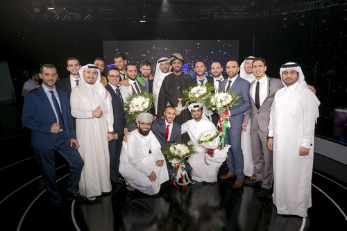 Stars of Science Season 8 winner Sadeem Qdaisat of Jordan poses with his competitors and alumni of the show at the conclusion of the thrilling finale episode (PRNewsFoto/Stars of Science)