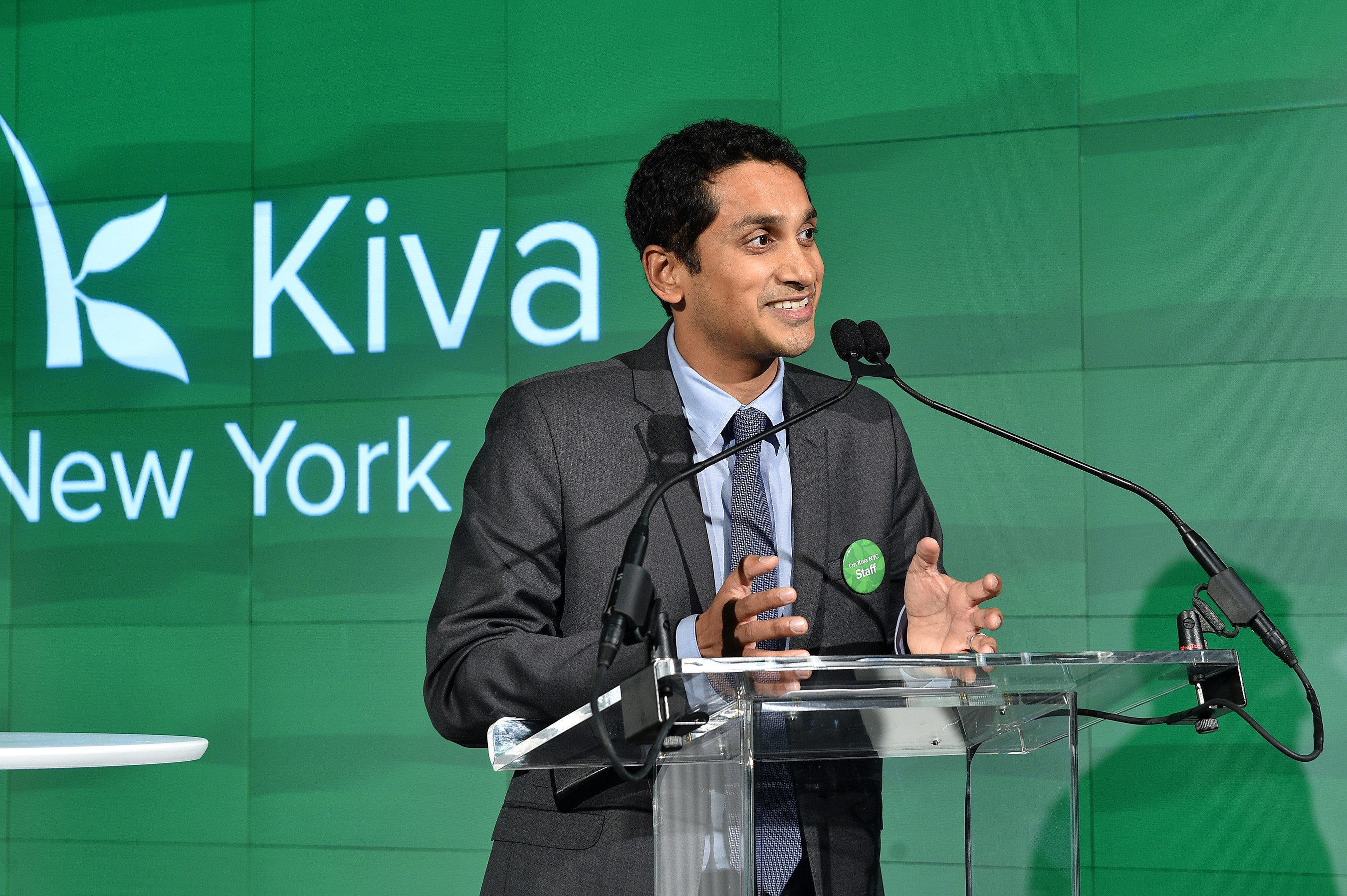 Kiva President and Co-Founder Premal Shah addresses the audience at the Kiva NYC Launch event in New York City on December 9, 2015. (Photo by Larry Busacca/Getty Images for Kiva)