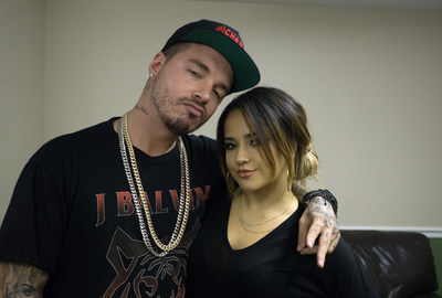 J Balvin and Becky G perform together at the kick-off of 'La Familia' tour, sponsored by Toyota, at the James L. Knight Center in Miami on Sept. 23, 2015.