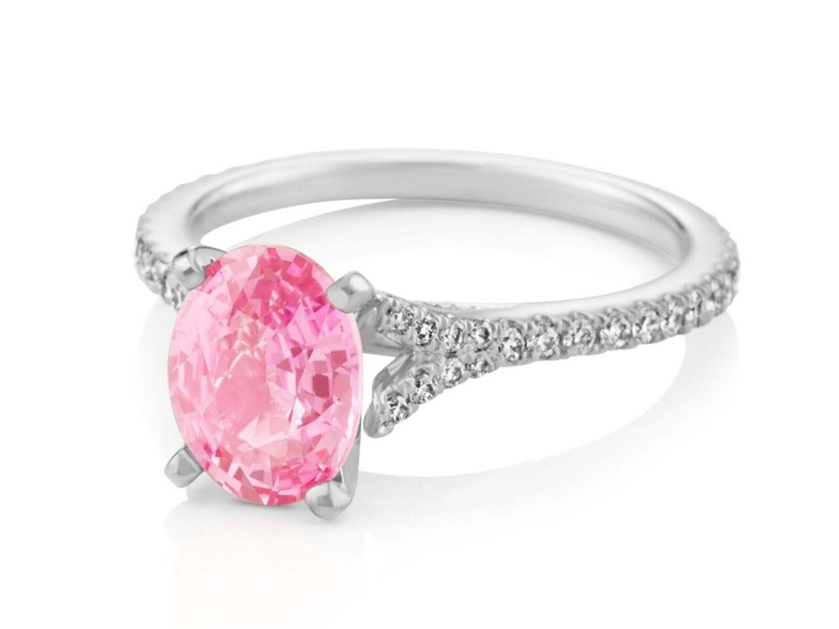 Shane Co. Pink Sapphire, Diamond and Platinum Engagement Ring - Seven Engagement Rings for Christmas 2016