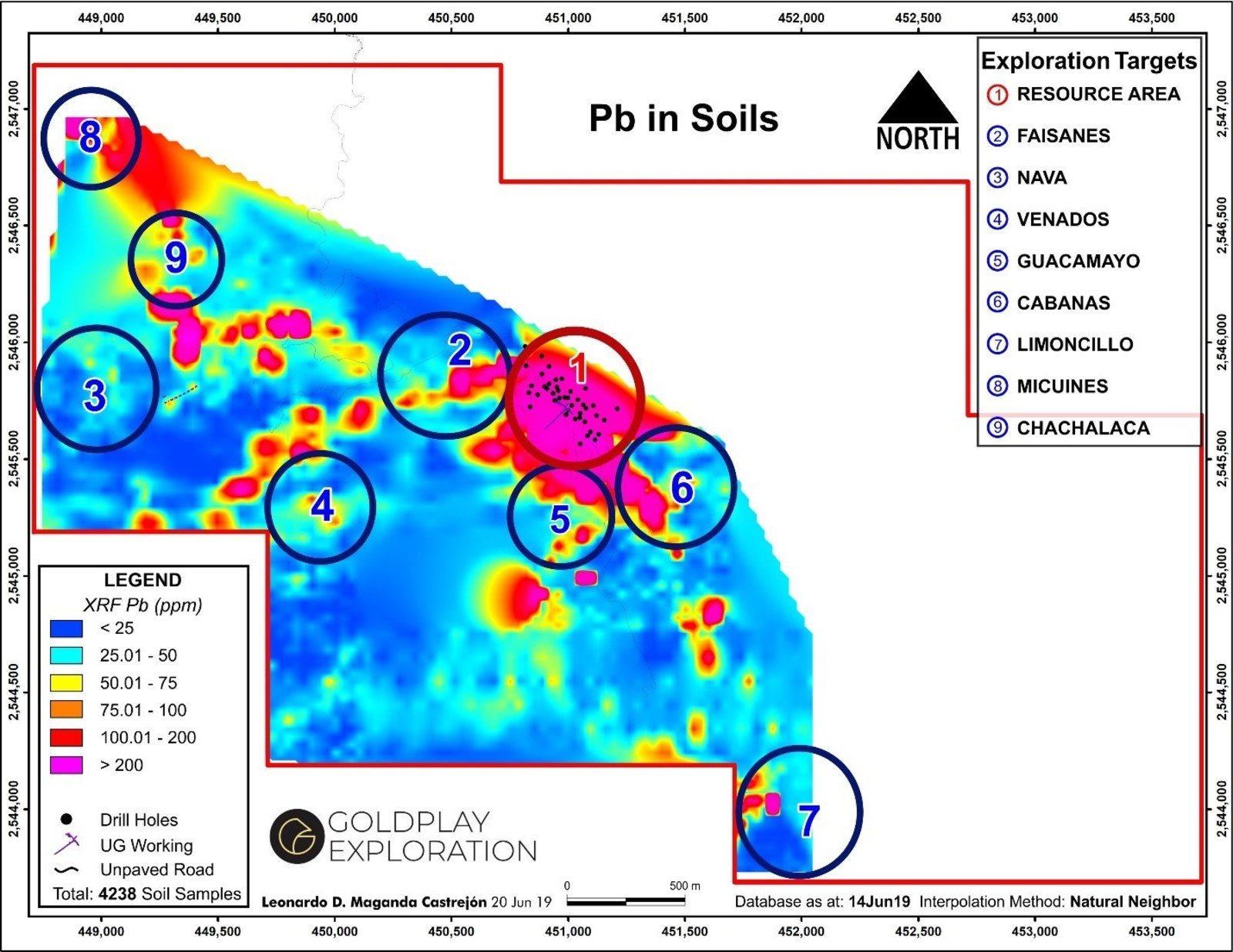 Figure 5 San Marcial Targets Including Nava and Chachalaca – Pb in Soil Geochemistry