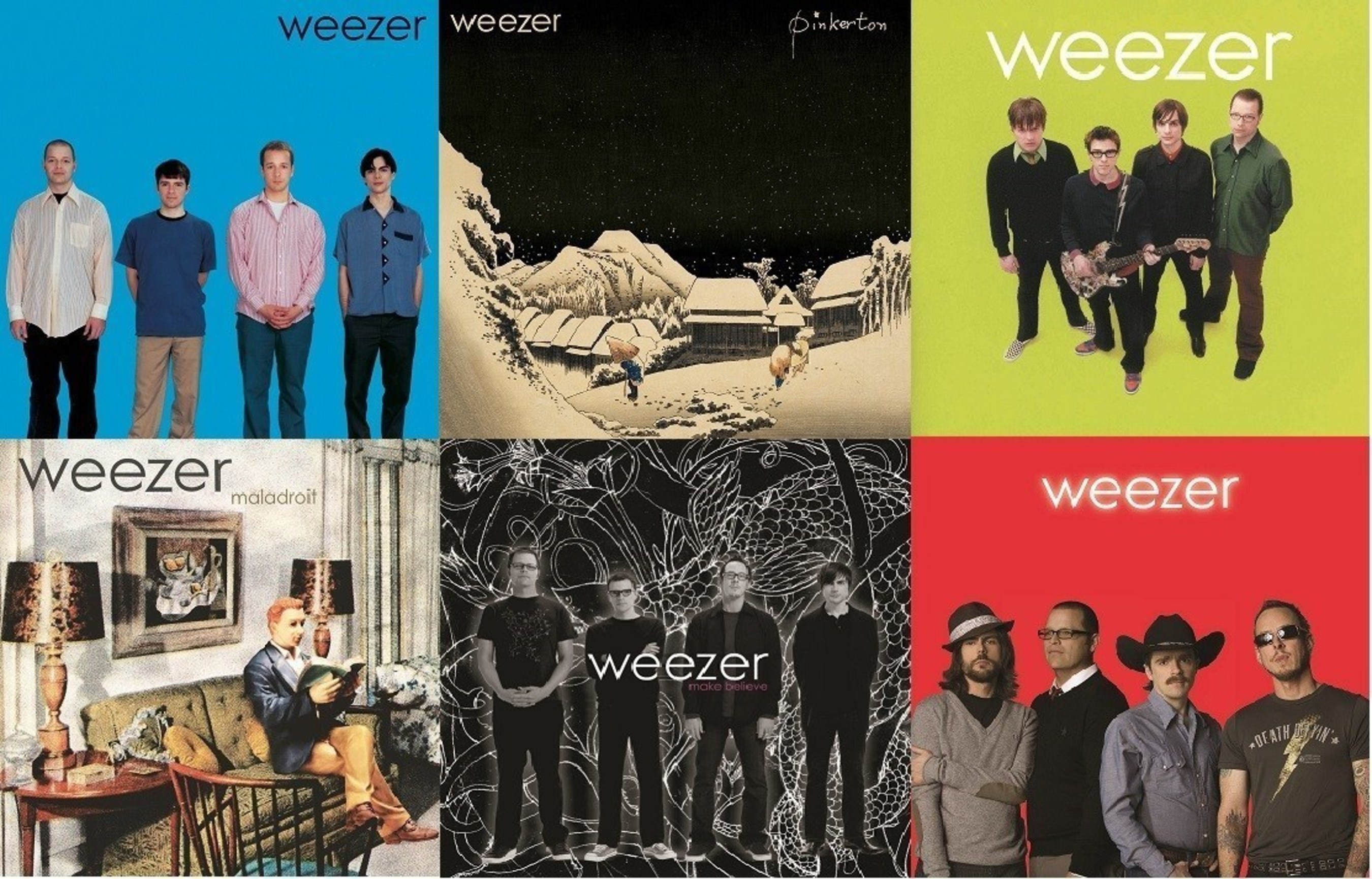 Geffen/UMe is reissuing Weezer's first six albums on standard 140-gram vinyl on October 28. The quartet's incredible run of Geffen Records releases - 1994's 'Weezer' (The Blue Album), 1996's 'Pinkerton,' 2001's 'Weezer' (The Green Album), 2002's 'Maladroit,' 2005's 'Make Believe' and 2008's 'Weezer' (The Red Album) - helped redefine the genre, mixing guitar hooks with a sense of geek-smart humor that radiated into the band's popular live act and multitude of cutting-edge videos and visuals.